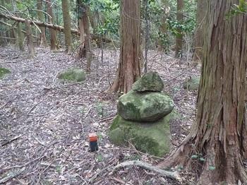 P1050667旧町境界尾根分岐(石積み).JPG