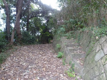 P1190483周回道沿いの石垣と石段.JPG