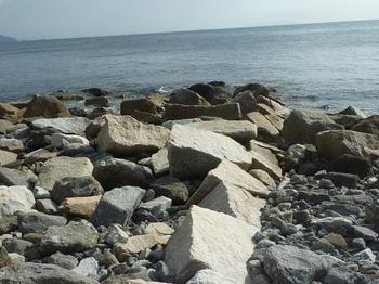 P1200277花崗岩が沖へ向かって規則的に並ぶ.JPG